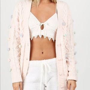 Soft Pink Cardigan with Pompom Detail
